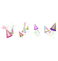 party hats birthday caps with ribbons or confetti vector image