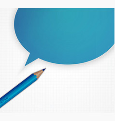 pencil with speech bubble on grid paper vector image