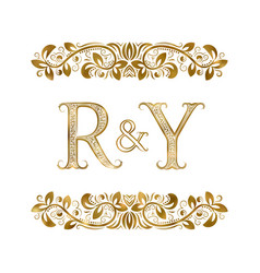 R and y vintage initials logo symbol letters vector