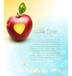Red apple with carved heart vector