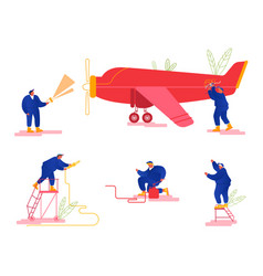 Repair and maintenance aircraft set mechanic vector