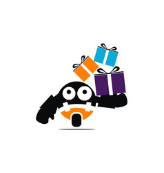 robot and gift vector image