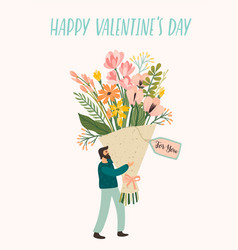 Romantic with cute man and flowers vector