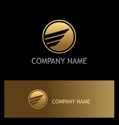 Round abstract wing gold business logo vector
