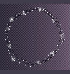 Round frame made of christmas lights sparkling vector