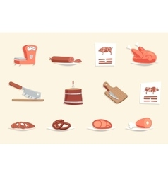 Sausage Hotdogs Meat Butcher Shop Retro Vintage vector image
