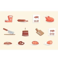 Sausage Hotdogs Meat Butcher Shop Retro Vintage vector