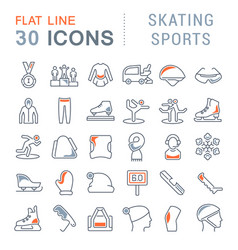 Set line icons skating sports vector