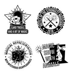 Set magical emblems labels badges logos vector