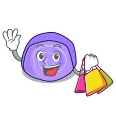 Shopping blueberry roll cake character cartoon vector