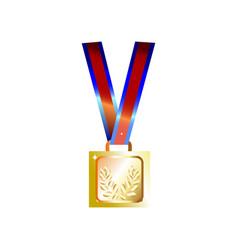 Simple shine golden squarish medal winner prize vector