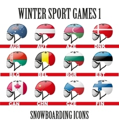 Ski snowboard helmets goggles icons vector image
