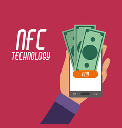 Smartphone in the hand with nfc bills to payment vector