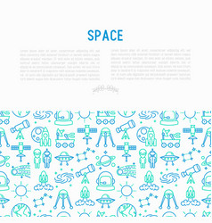 space concept with thin line icons vector image
