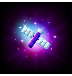 Space satellite in dark space icon vector
