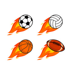 Sports balls with a fiery train vector