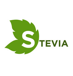 stevia green leaf with inscription isolated on vector image