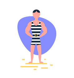 striped singlet man standing pose on white vector image