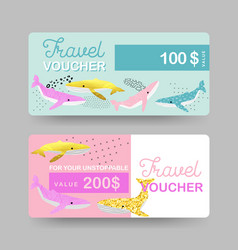 summer gift travel vouchers coupon certificate vector image