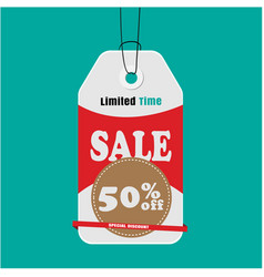 tag sale limited time sale 50 off special discoun vector image