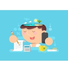 thoughts in my head vacation planning vector image