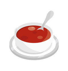 Tomato soup with spoon on dish food flat style vector