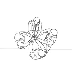 top view continuous line drawing young vector image