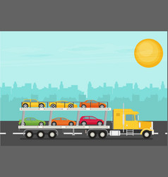 Transport truck on the road with cars flat vector
