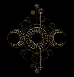 Triple moon magic and astronomy vecor symbol vector