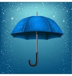 Umbrella and azure snow background vector