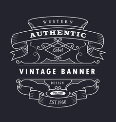 vintage banner hand drawn retro design vector image