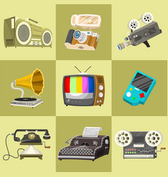 vintage devices icons retro tech media vector image