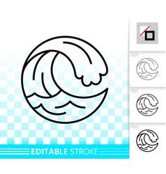 water wave simple black line splash icon vector image
