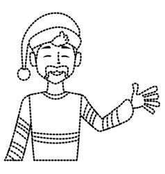 young man with santa claus hat vector image