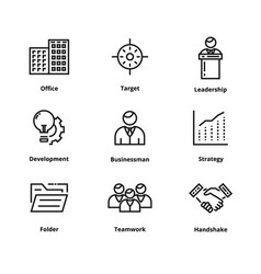 9 business line icons vector image vector image