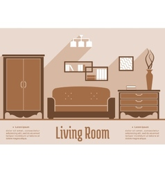 Living room interior flat design vector image