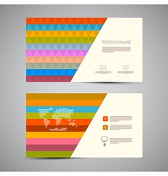 Retro Paper Business Card Template with Colorful vector image vector image