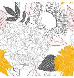 seamless pattern with flowers and leaves vector image vector image