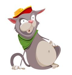 Surprised cartoon fat cat in the hat vector