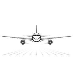 The black silhouette of a jet airliner coming in vector image