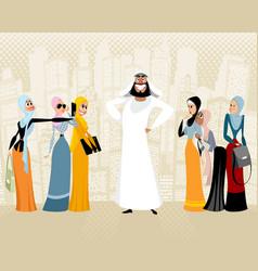 arab man and women vector image