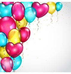 Background with colored balloons and serpentines vector image vector image