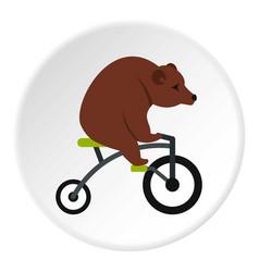 bear on a bike icon circle vector image