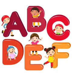 cartoon kids with abcdef letters vector image vector image
