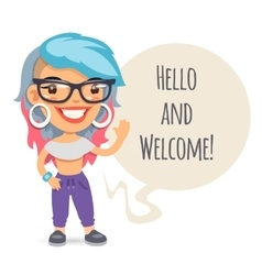 Casually Dressed Girl Says Hello vector image
