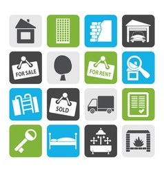 Flat Real Estate icons vector image vector image