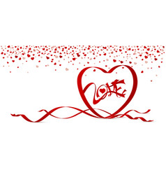 love concept of red heart shape ribbon vector image vector image