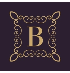 Monogram letter B Calligraphic ornament Gold vector image vector image