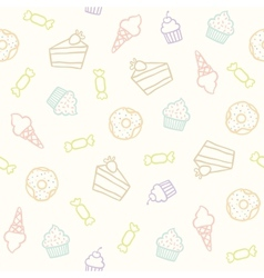 Sweet pattern Cakes cupcakes candies donuts ice vector image vector image