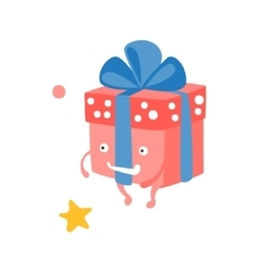 Wrapped Gift Box With Ribbon Children Birthday vector image vector image